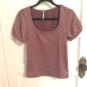 NWOT Free People Shimmer Knit Short Sleeve Top